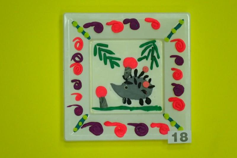 Пластилин, декор, тарелки, Садеева Алина, 5 лет.